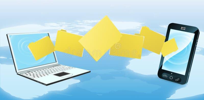 Laptop de overdracht van de telefoonomslag vector illustratie