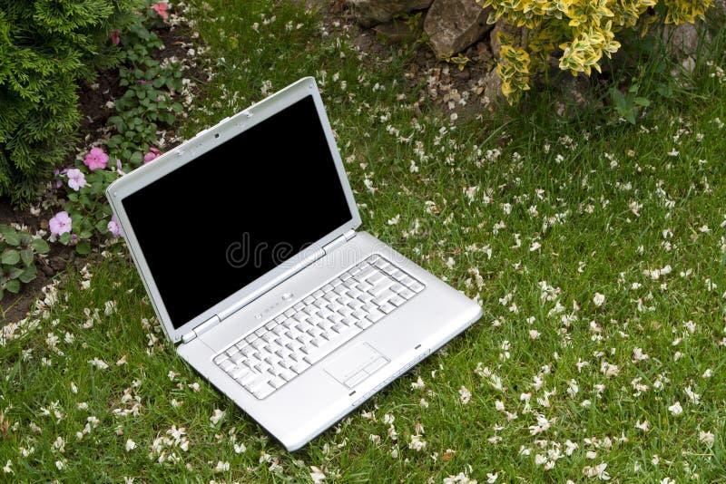 Laptop in der Natur lizenzfreie stockfotografie