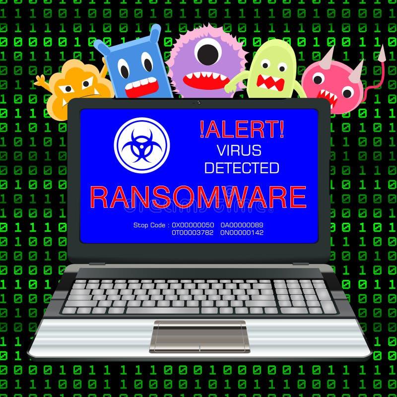 Laptop des blauen Schirmes steckte ransomware Virus mit Viruskarikatur an stock abbildung