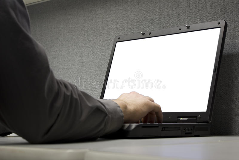 Laptop at desk. With the screen cut out stock images