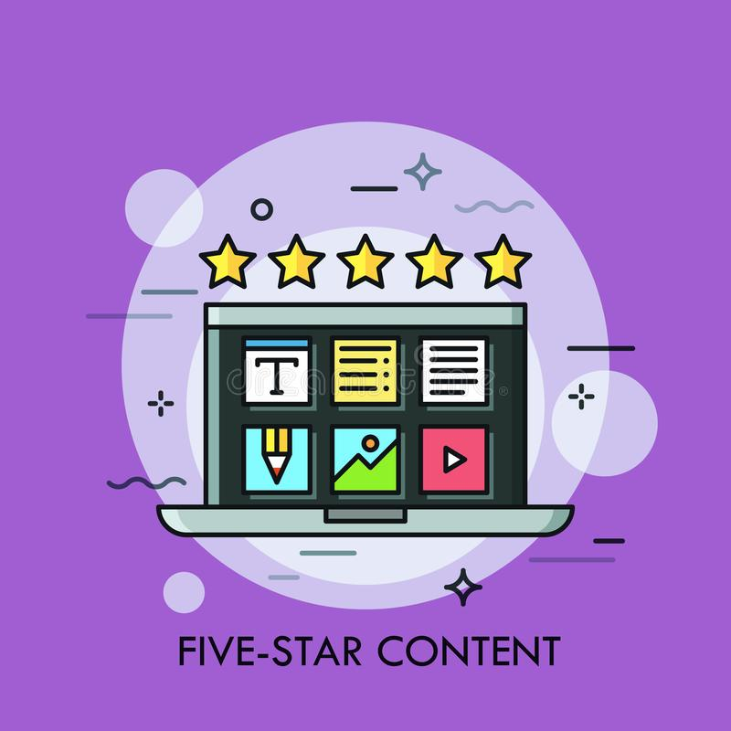 Laptop with desktop application icons on screen and five golden stars. Concept of high quality content creation royalty free illustration