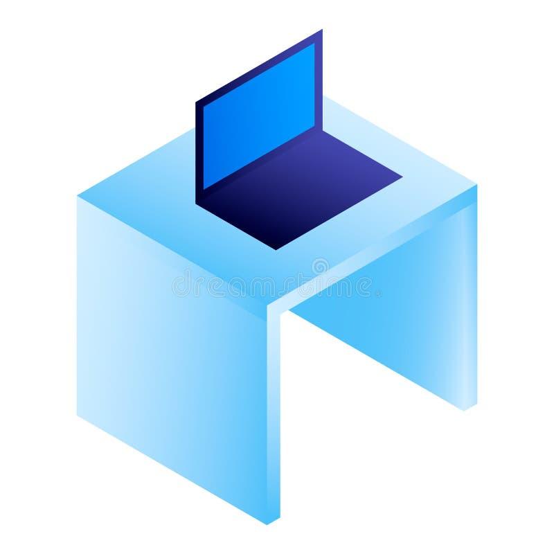 Laptop on desktop icon, isometric style royalty free illustration