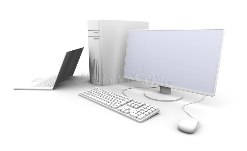 Laptop and Desktop PC stock illustration