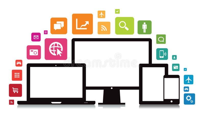 Laptop Desktoptablet Smartphone App royalty-vrije illustratie