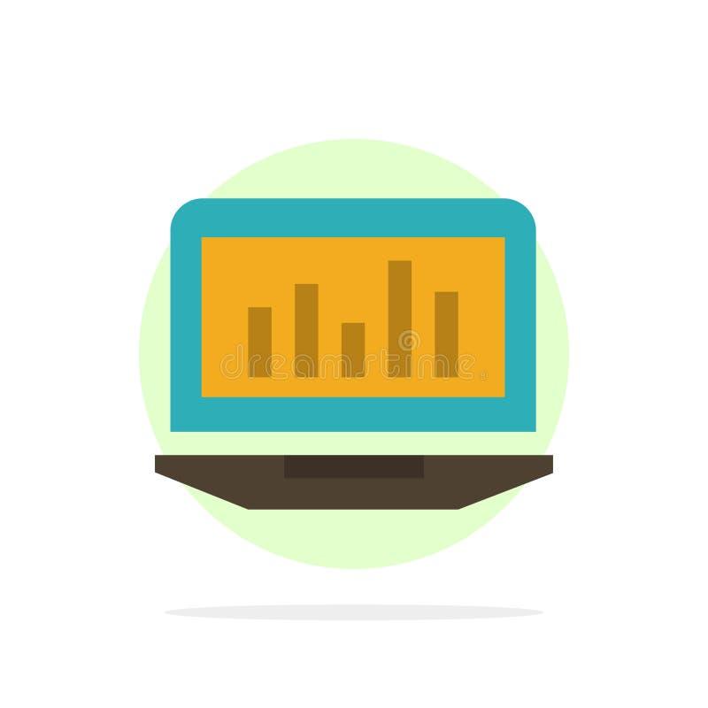 Laptop, Diagramm, Analytics, Überwachung, Statistiken extrahieren flache Ikone Farbe des Kreis-Hintergrundes vektor abbildung