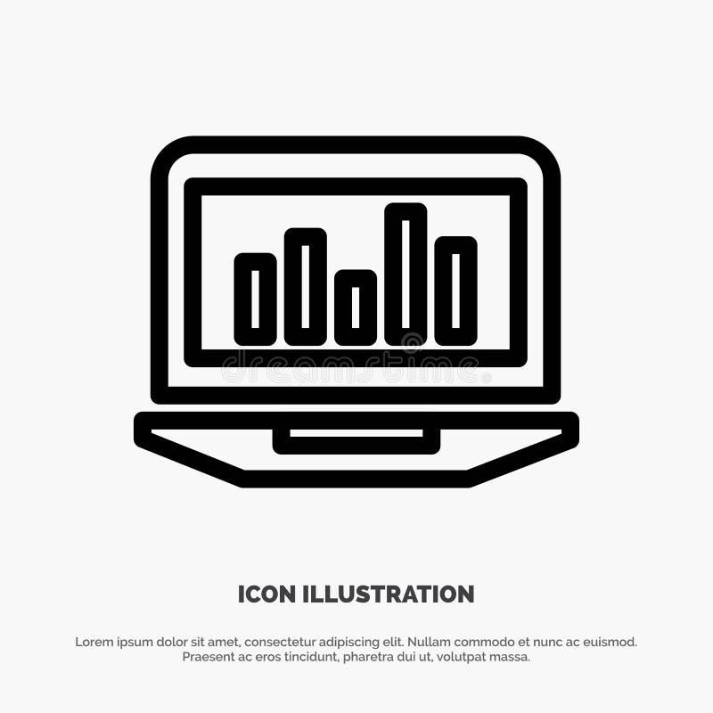 Laptop, Diagramm, Analytics, Überwachung, Statistiken zeichnen Ikonen-Vektor vektor abbildung