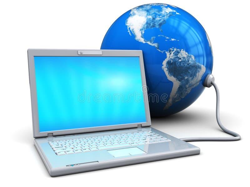 Laptop die aan aarde wordt aangesloten royalty-vrije illustratie