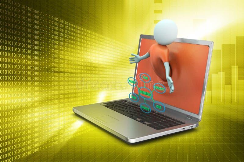 Laptop die bedrijfsgrafiek tonen royalty-vrije stock afbeeldingen