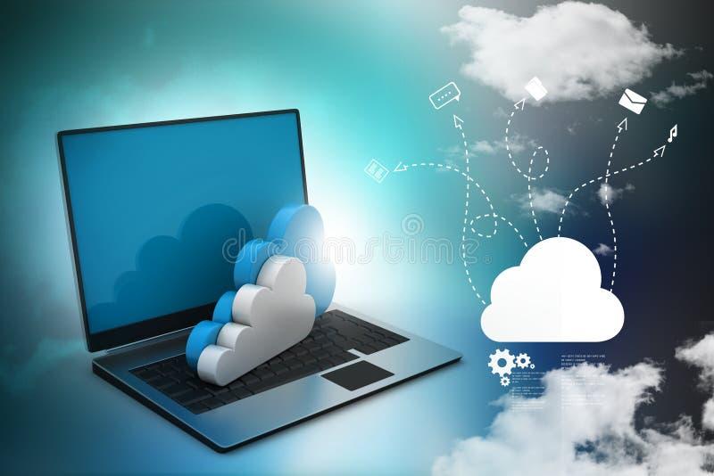 Laptop die concept wolk gegevensverwerking tonen stock illustratie