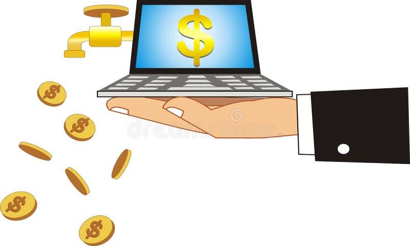 Laptop die dollars produceren Afficheachtergrond stock illustratie