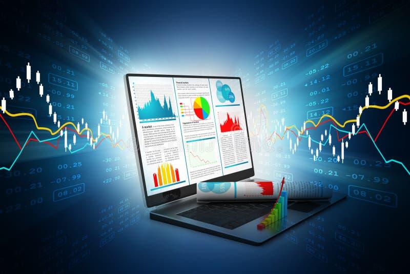Laptop die een financieel verslag tonen stock illustratie