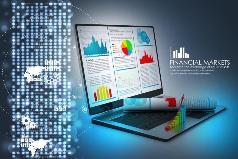 Laptop die een financieel verslag tonen royalty-vrije illustratie