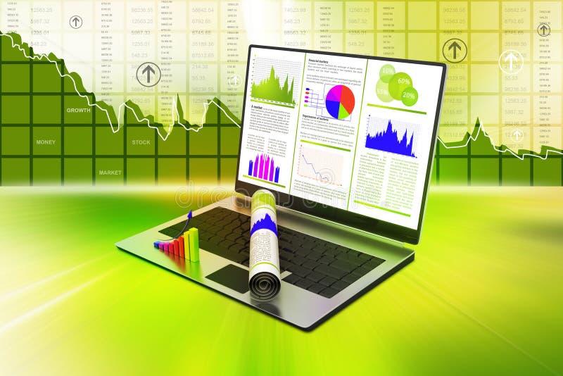 Laptop die een financieel verslag tonen vector illustratie
