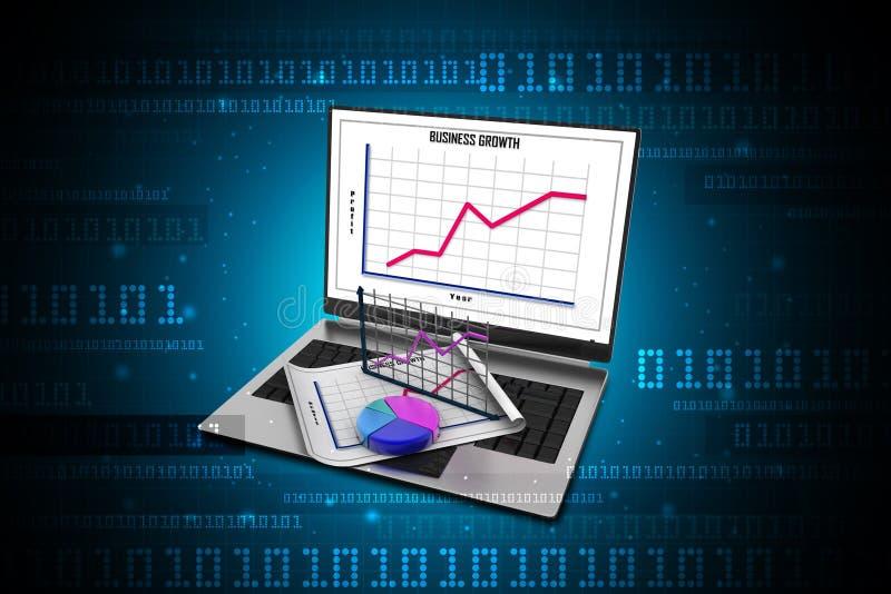 Laptop die een spreadsheet en een document met statistiekgrafieken tonen vector illustratie