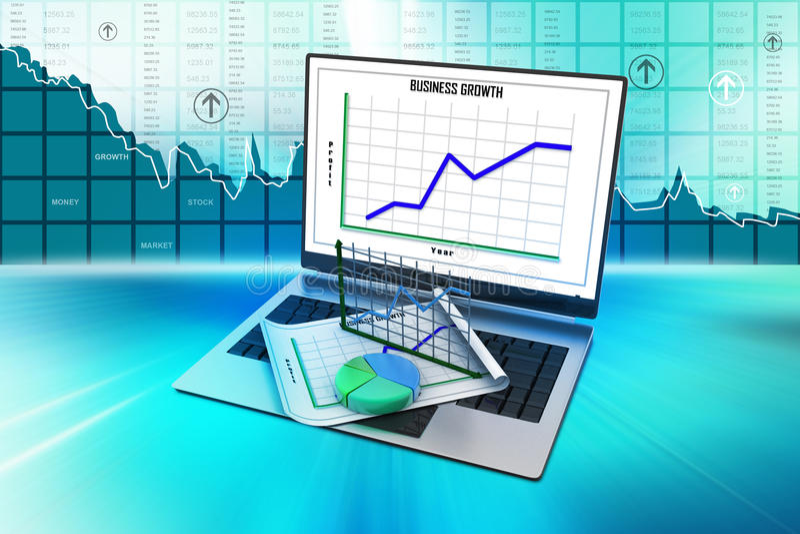 Laptop die een spreadsheet en een document met statistiekgrafieken tonen royalty-vrije illustratie