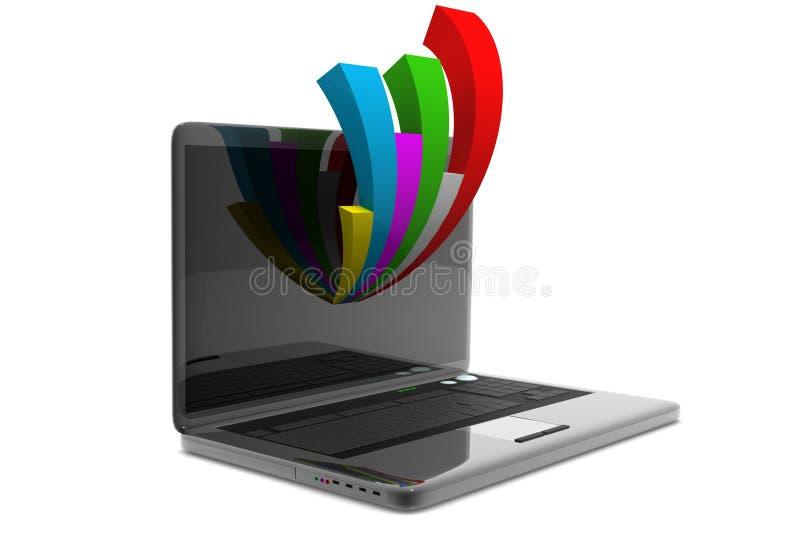 Laptop die een spreadsheet tonen royalty-vrije illustratie