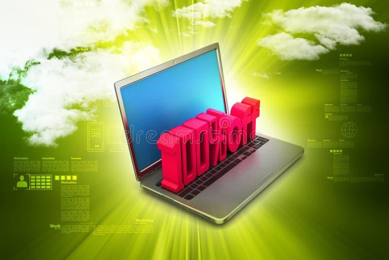 Laptop die met 100% pronken royalty-vrije illustratie