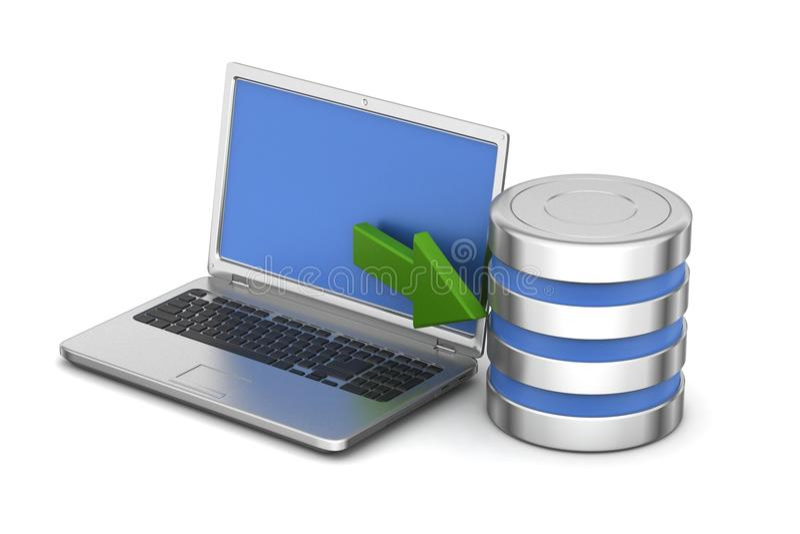 Laptop die met server verbinden royalty-vrije illustratie