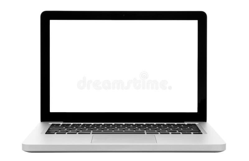 Laptop die op wit wordt geïsoleerde stock afbeeldingen