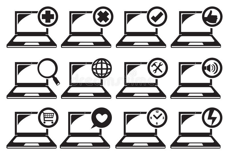 Laptop and Different Functions Icon Set. Vector illustration of computer laptop icons with different functions royalty free illustration