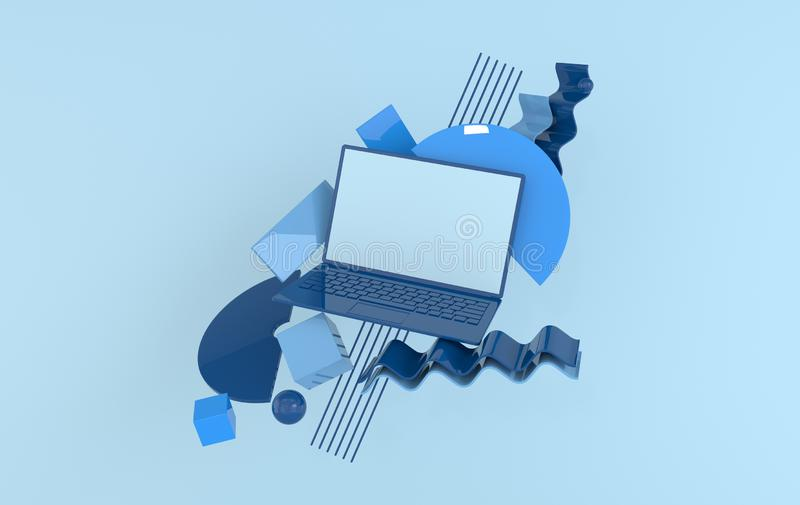 Laptop and different geometric objects mock-up background in modern minimal style. Notebook 3d render in pastel colors. Technology royalty free illustration