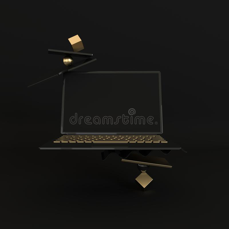 Laptop and different geometric objects mockup background in modern minimal style. Notebook 3d render in black and golden colors. vector illustration