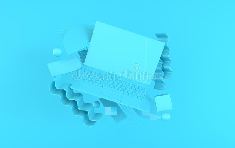 Laptop and different geometric objects mockup background in modern minimal style. Notebook 3d render in pastel colors. Technology stock illustration