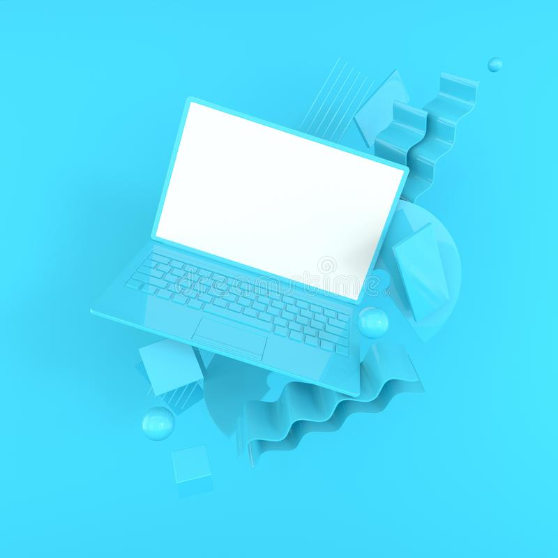 Laptop and different geometric objects mockup background in modern minimal style. Notebook 3d render in pastel colors. Technology vector illustration