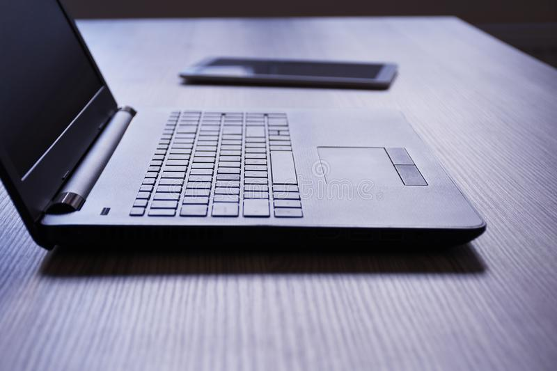 Laptop and digital tablet stock images
