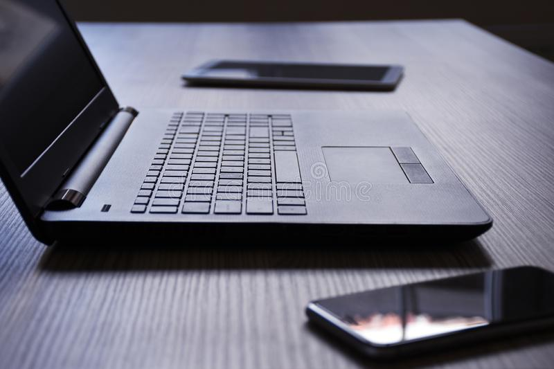 Laptop, digital tablet and smart phone, on the desk royalty free stock photos