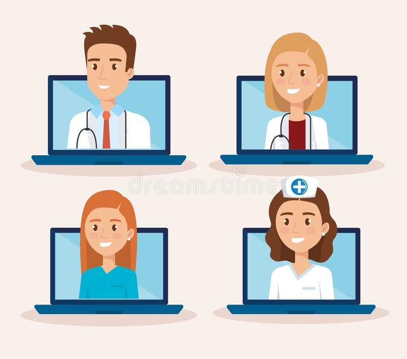 Laptop with doctor and telemedicine icons. Vector illustration design vector illustration