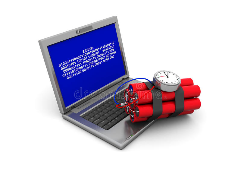 Laptop And Dynamite Royalty Free Stock Images