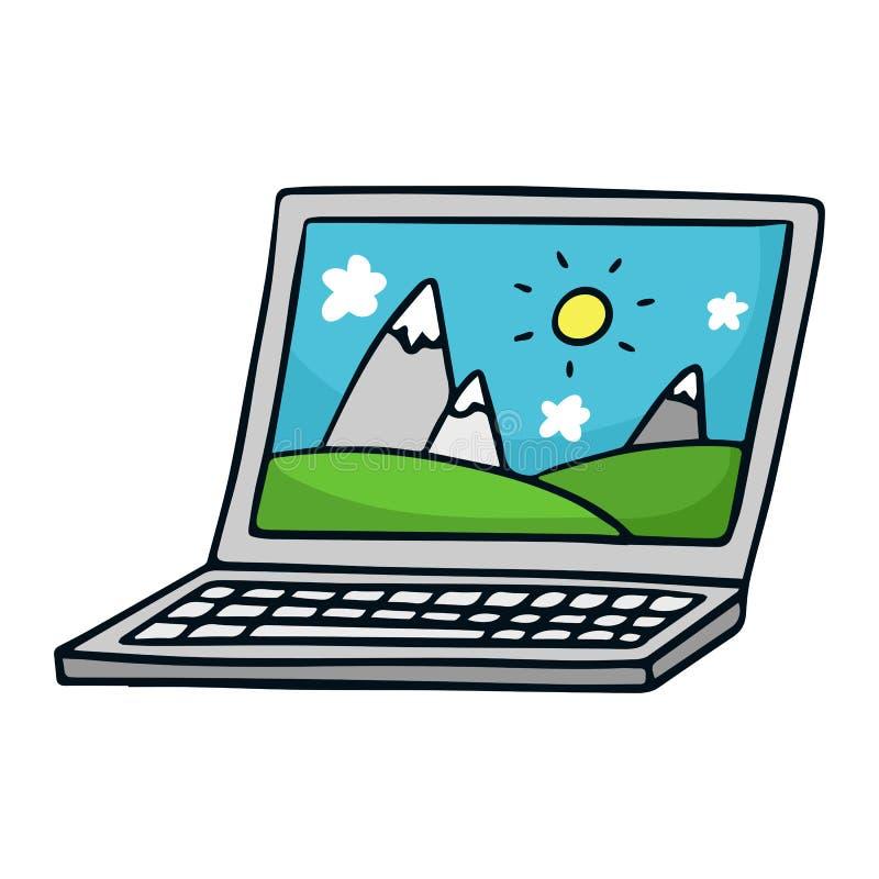 Laptop Ejemplo lindo del bosquejo del garabato en blanco libre illustration