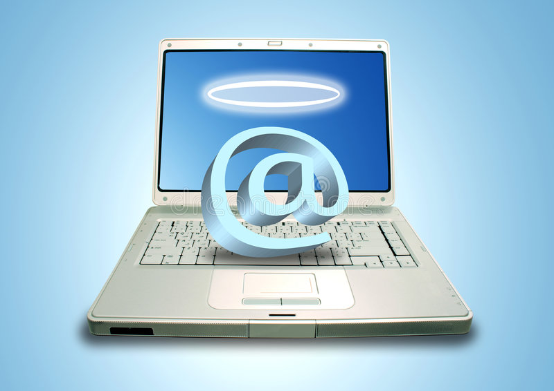 Laptop and Email Angel. Laptop and angel email symbol with halo royalty free stock image