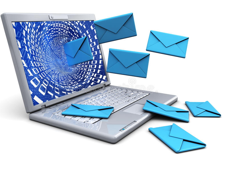 Laptop with emails stock illustration