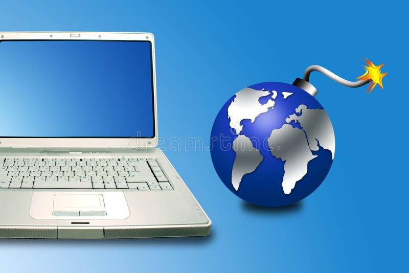 Laptop en bom stock illustratie