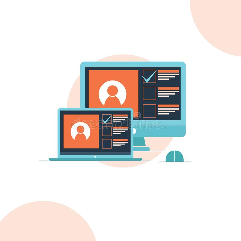 Laptop en computer op lijst app aangaande de de stijlillustratie van het het scherm vlakke ontwerp royalty-vrije illustratie