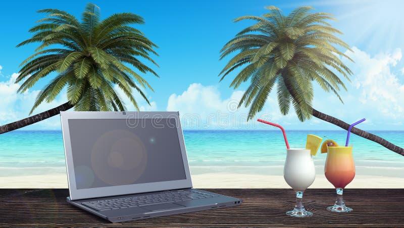 Laptop en de cocktail, openlucht 3d de zomerbureau geven terug vector illustratie