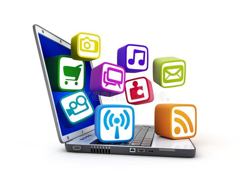 Laptop en de dienst van verschillende media royalty-vrije illustratie