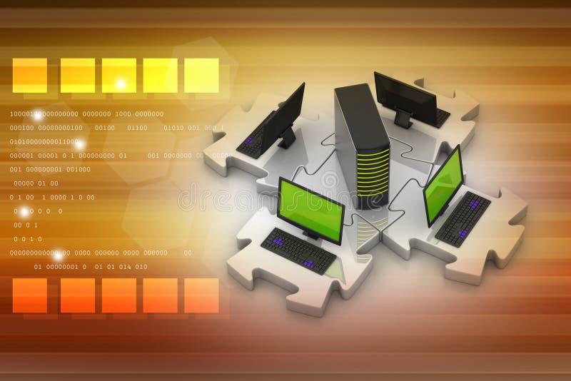 Laptop en de server verbinden in raadsels stock illustratie
