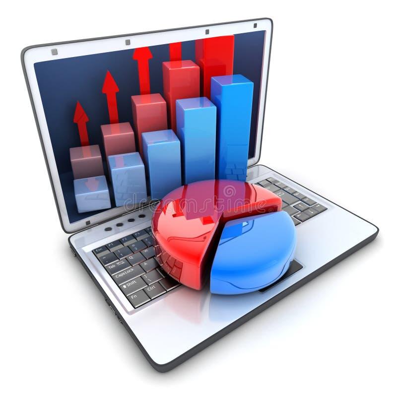 Laptop en diagram stock illustratie