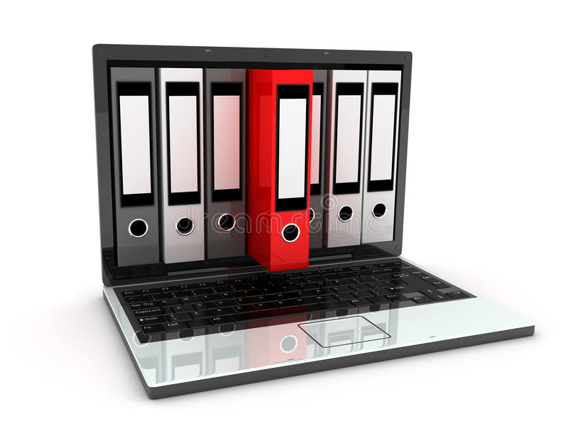 Laptop en dossiers royalty-vrije illustratie