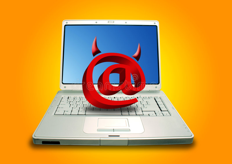 Laptop en E-mailduivel royalty-vrije illustratie