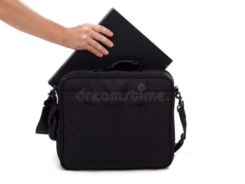 Laptop en geval stock afbeeldingen