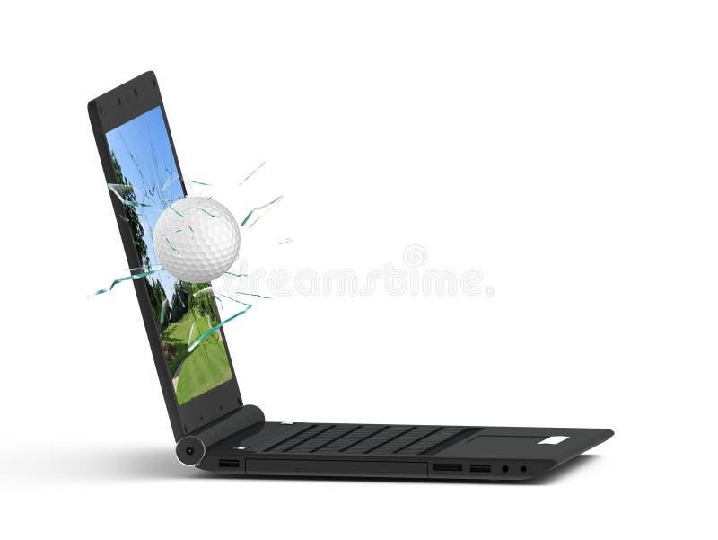 Laptop en golf royalty-vrije stock afbeeldingen