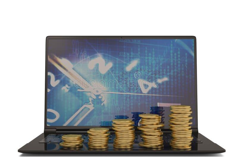 Laptop en gouden muntstukstapels op witte achtergrond 3D Illustratie royalty-vrije illustratie