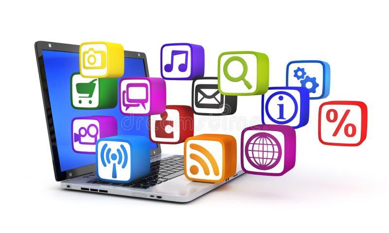Laptop en het symbool van verschillende media royalty-vrije illustratie