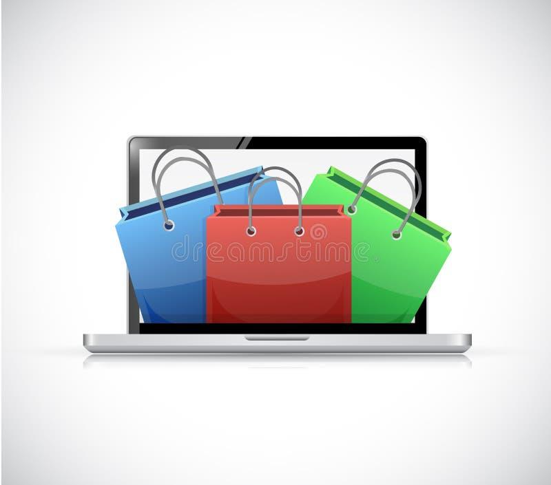 Laptop en het winkelen het ontwerp van de zakkenillustratie royalty-vrije illustratie