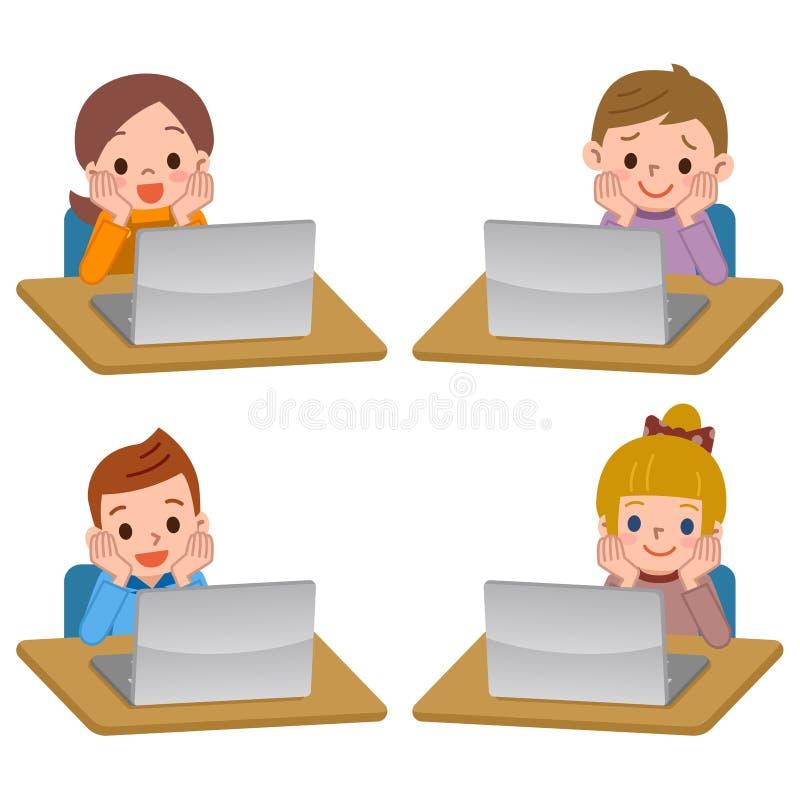 e4004f94382f45 Kinderen Die In Tabletpc Spelen Vector Illustratie - Illustratie ...
