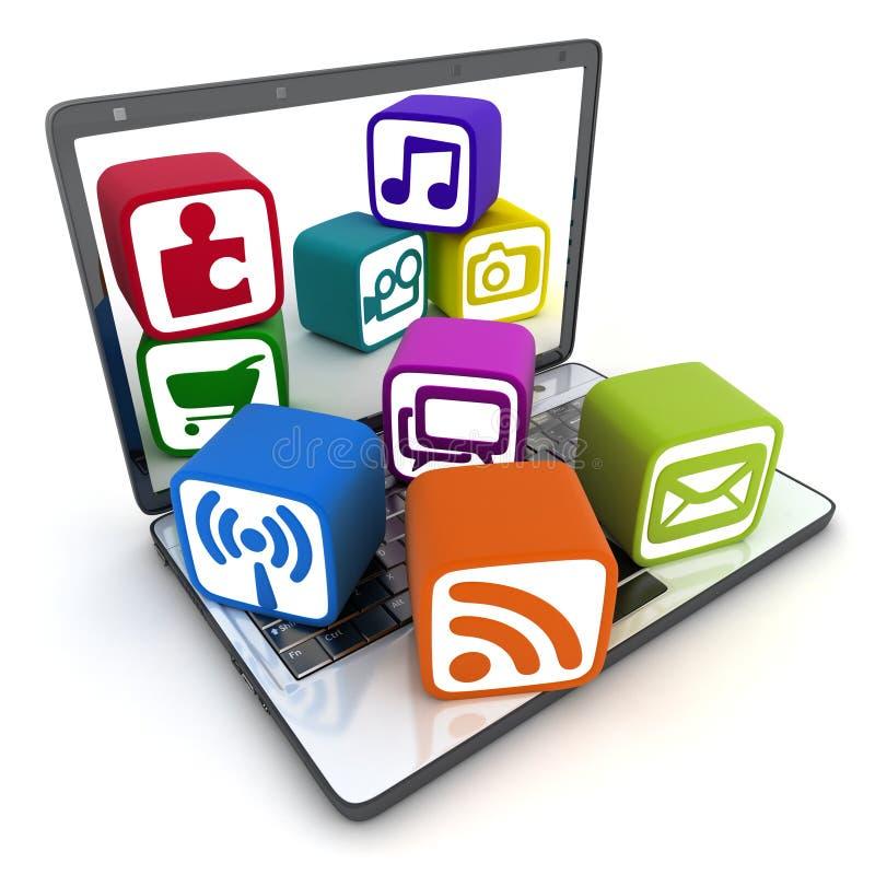 Laptop en multimedia royalty-vrije illustratie